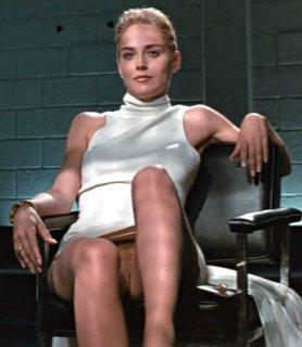 Sharon Stone ohne Slip - man kann die Muschi sehen